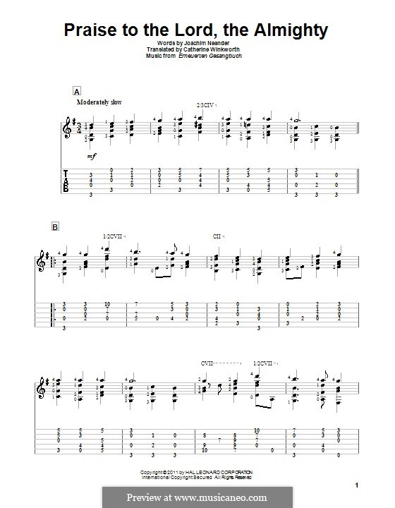 Praise to the Lord, the Almighty: For guitar by Unknown (works before 1850)