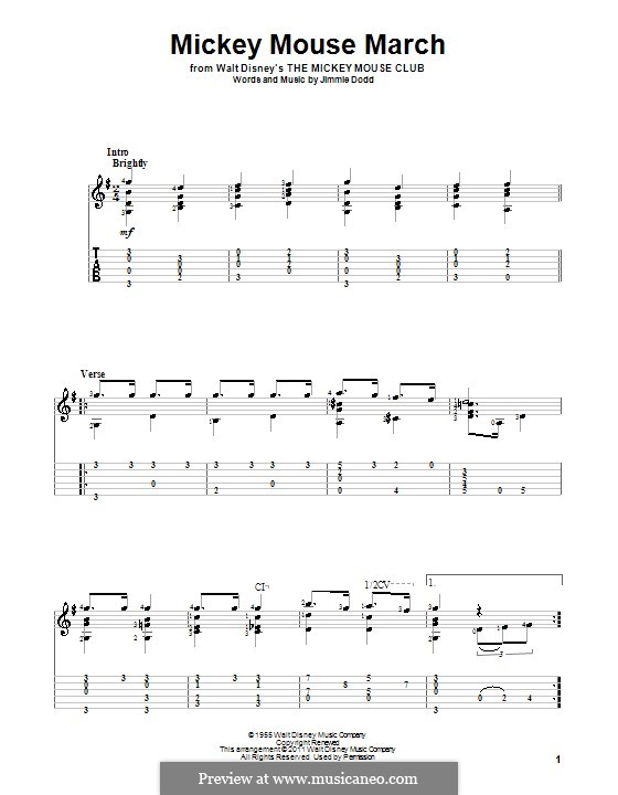 Mickey Mouse March: For guitar by Jimmie Dodd