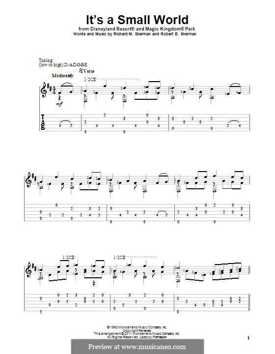 It's a Small World (from Disneyland Park and Magic Kingdom Park): For guitar by Richard M. Sherman, Robert B. Sherman