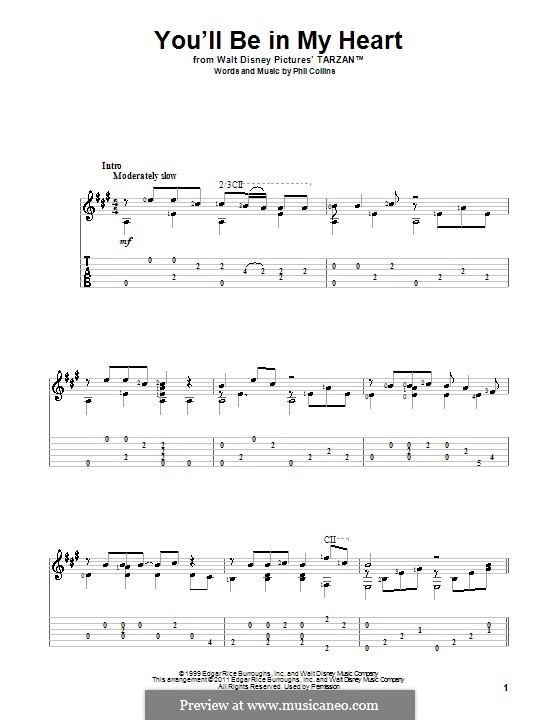 You'll Be in My Heart (from Walt Disney's Tarzan): For guitar with tabulature (A Major) by Phil Collins