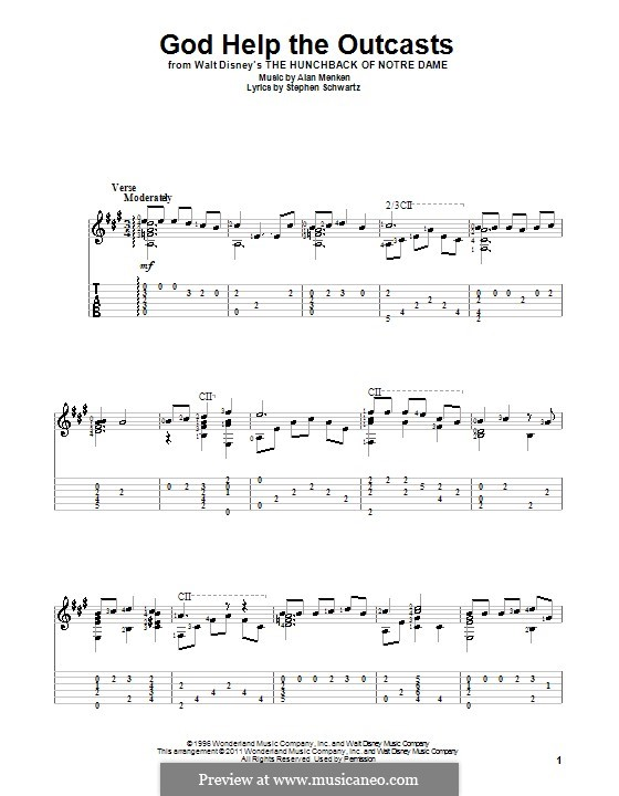 God Help the Outcasts (from The Hunchback of Notre Dame): For guitar with tab by Alan Menken