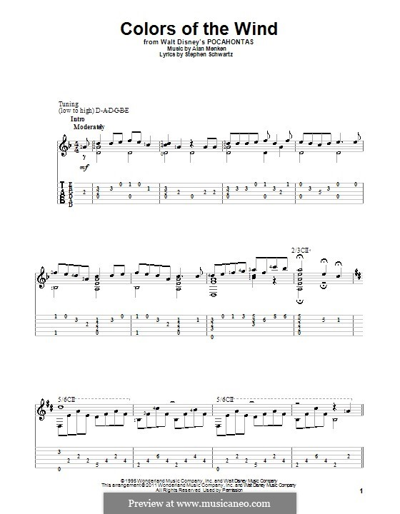 Colors of the Wind (from Pocahontas): For guitar with tab by Alan Menken