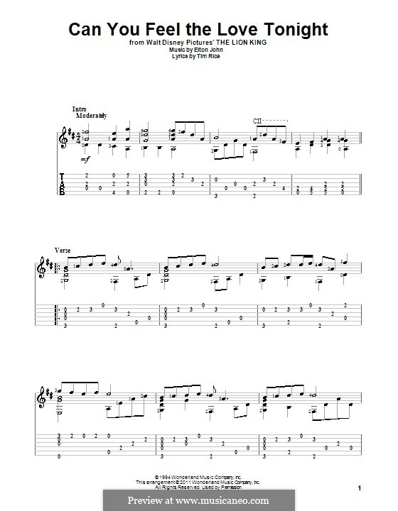 Can You Feel the Love Tonight (from The Lion King): For guitar by Elton John