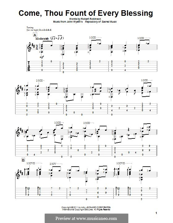 Come, Thou Fount of Every Blessing: For guitar with tab by John Wyeth