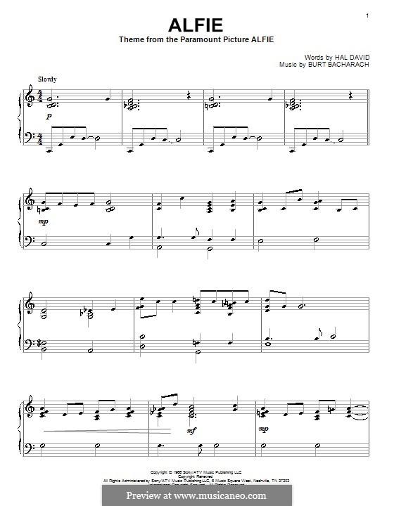 Alfie: For piano by Burt Bacharach
