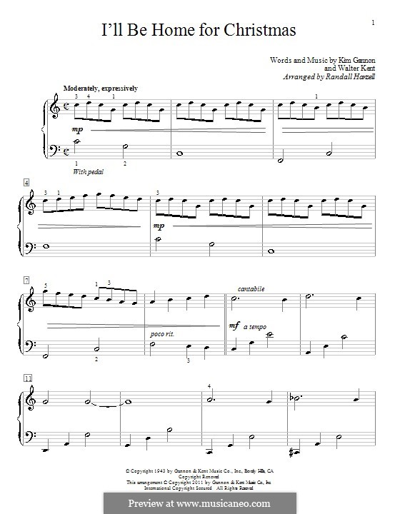 I'll Be Home for Christmas: For piano by Kim Gannon, Walter Kent