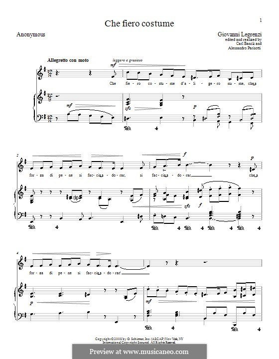 Che fiero costume: Version for voice and piano (E Minor) by Giovanni Legrenzi