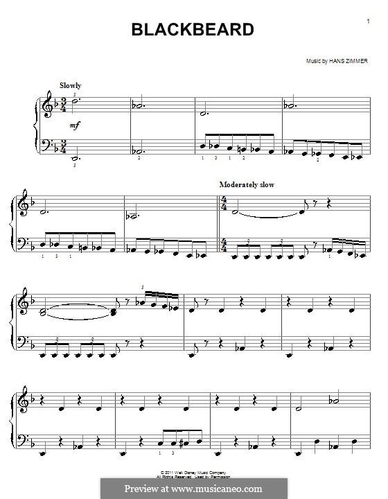 Blackbeard: For easy piano by Hans Zimmer