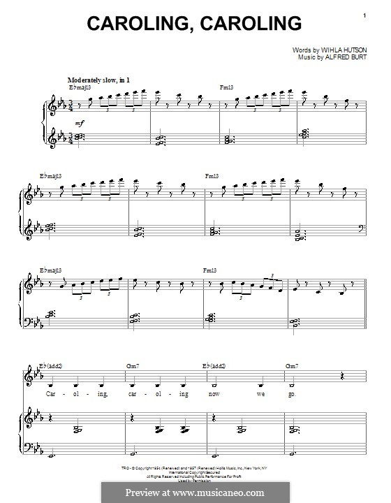 Caroling, Caroling (Nat King Cole): For voice and piano (E Flat Major) by Alfred Burt