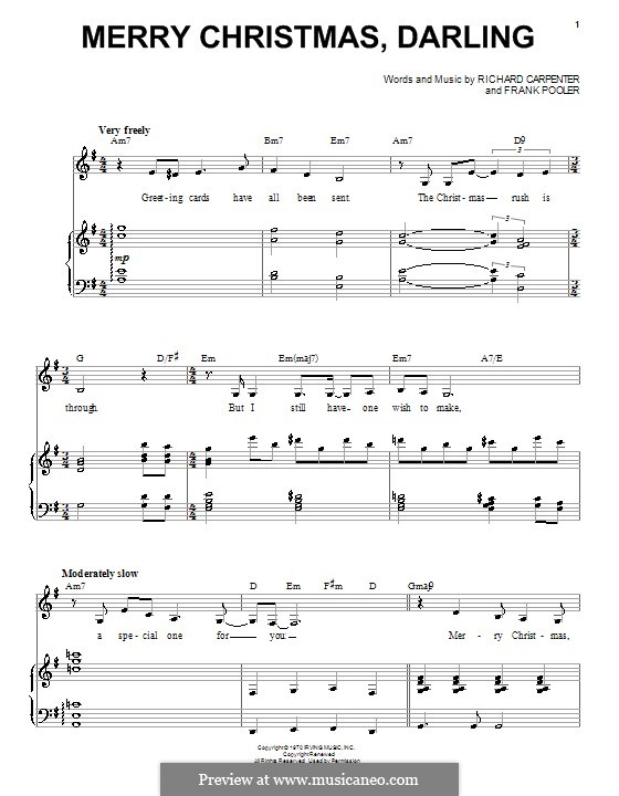 Merry Christmas, Darling (Carpenters): For voice and piano by Frank Pooler, Richard Carpenter