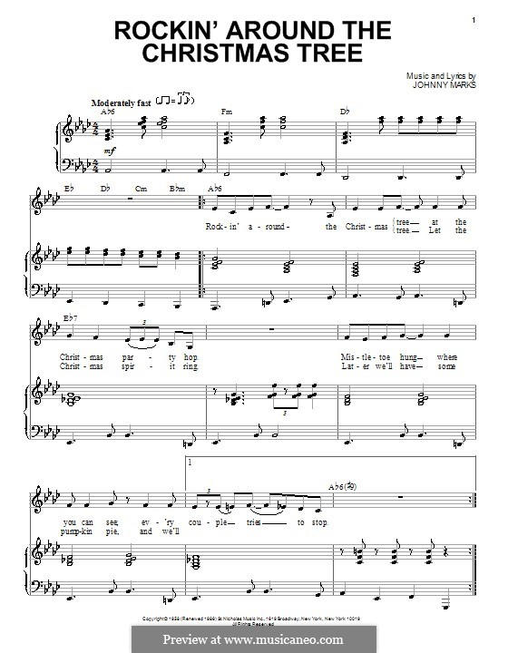 Rockin Around The Christmas Tree Piano Sheet Music.For Voice And Piano