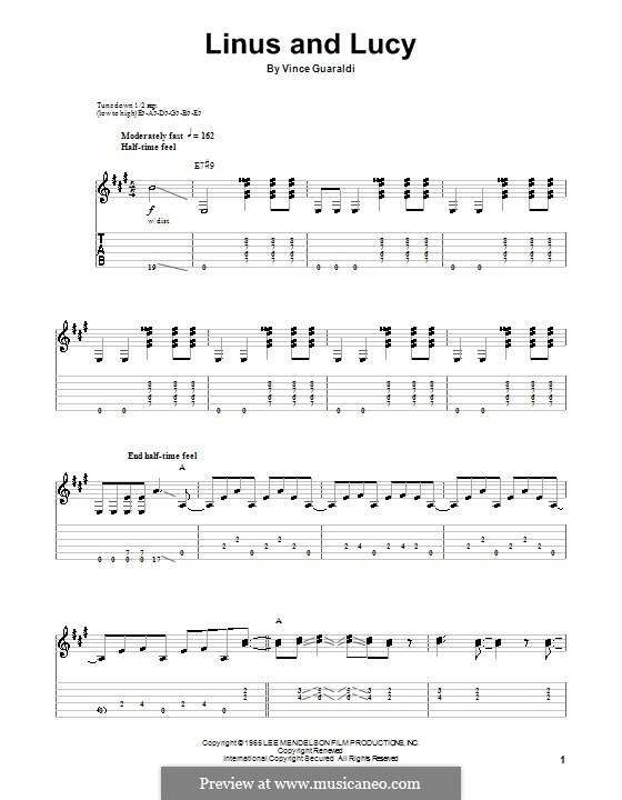Linus and Lucy (from A Boy Named Charlie Brown): For guitar by Vince Guaraldi