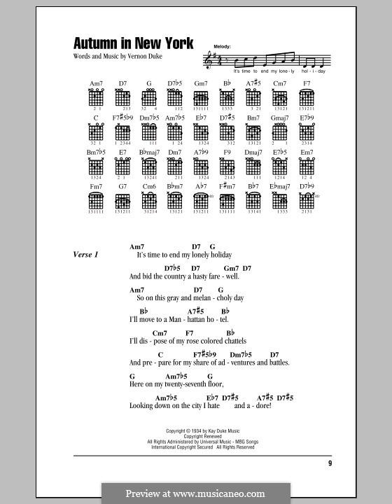 Autumn in New York: Lyrics and chords by Vernon Duke