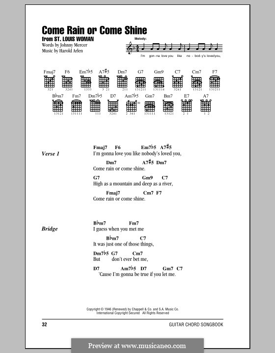 Come Rain or Come Shine: Lyrics and chords by Harold Arlen