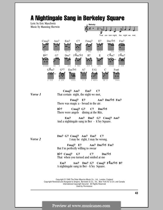 A Nightingale Sang in Berkeley Square: Lyrics and chords by Eric Maschwitz, Manning Sherwin