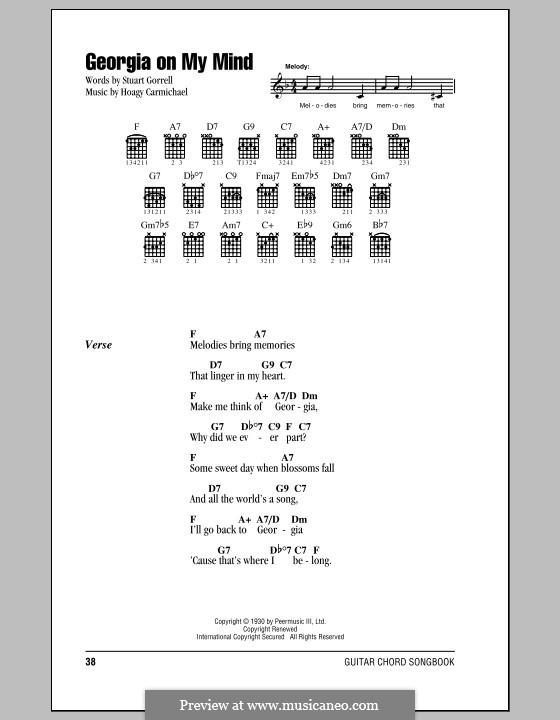 Georgia on My Mind: Lyrics and chords (Ray Charles) by Hoagy Carmichael