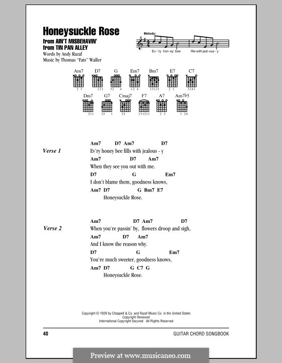 Honeysuckle Rose: Lyrics and chords by Fats Waller