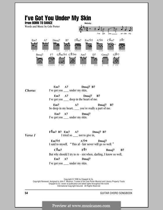 I\'ve Got You under My Skin by C. Porter - sheet music on MusicaNeo