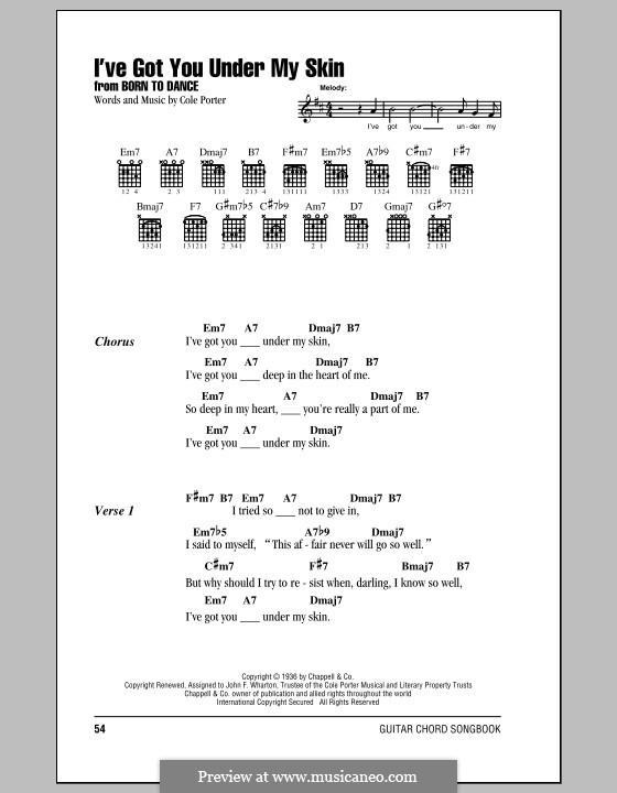 I've Got You under My Skin: Lyrics and chords by Cole Porter