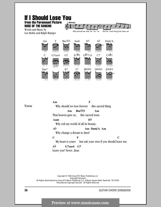 If I Should Lose You (Phineas Newborn): Lyrics and chords by Leo Robin, Ralph Rainger