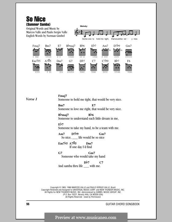 So Nice (Summer Samba): Lyrics and chords by Marcos Valle, Paulo Sergio Valle