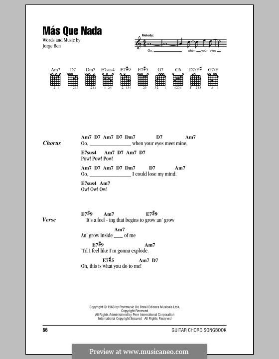 Mas Que Nada (Say No More): Lyrics and chords (Sergio Mendes) by Jorge Ben