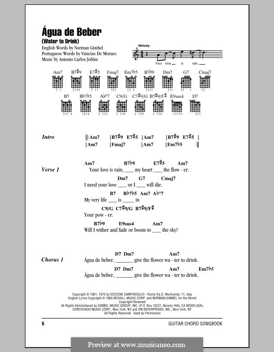 Agua de Beber (Water To Drink): Lyrics and chords by Antonio Carlos Jobim