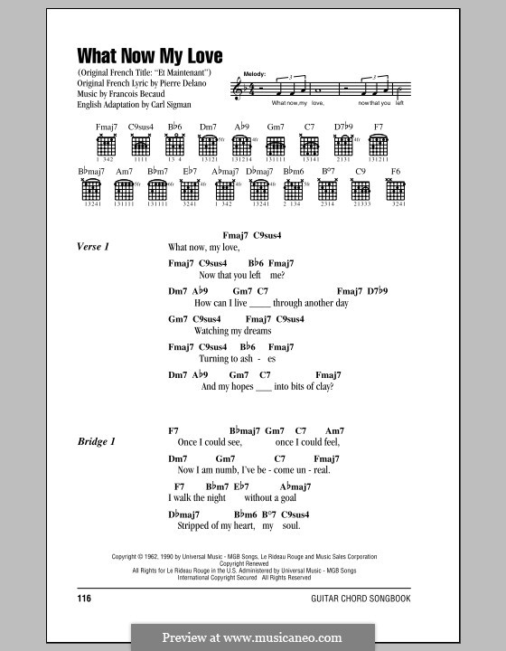 What Now My Love: Lyrics and chords by Gilbert Becaud