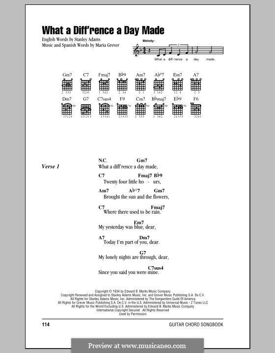 What a Diff'rence a Day Made (Jamie Cullum): Lyrics and chords by Maria Grever