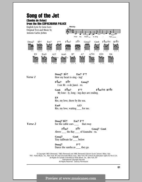 Song of the Jet (Samba do Aviao): Lyrics and chords by Antonio Carlos Jobim