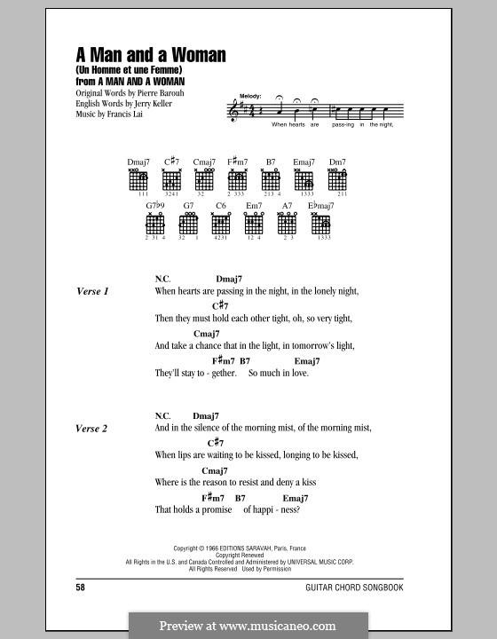 A Man and a Woman (Un Homme Et Une Femme): Lyrics and chords by Francis Lai