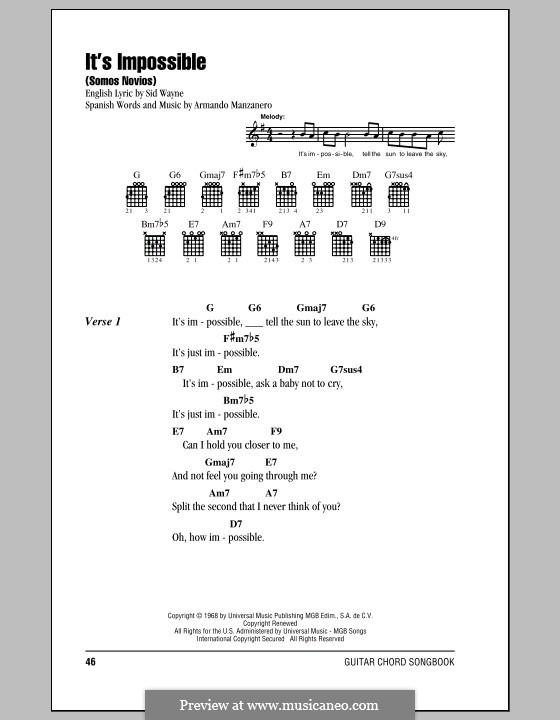 It's Impossible (Somos Novios): Lyrics and chords (Perry Como) by Armando Manzanero, Sid Wayne