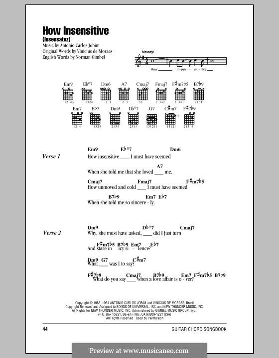 How Insensitive (Insensatez): Lyrics and chords by Antonio Carlos Jobim