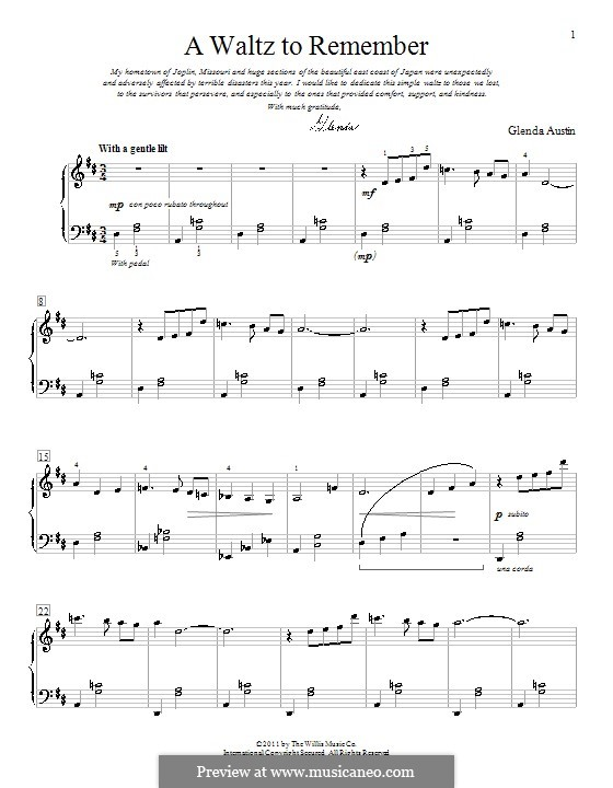 A Waltz to Remember: For piano by Glenda Austin