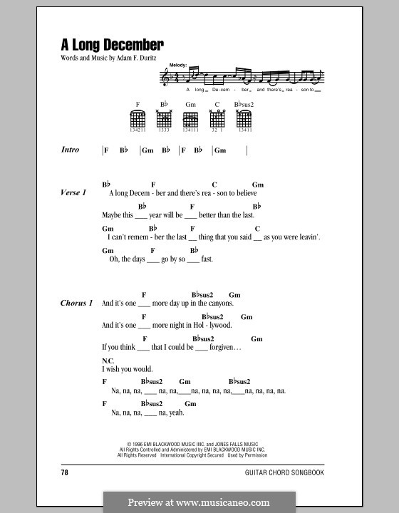A Long December (Counting Crows) by A.F. Duritz - sheet music on ...