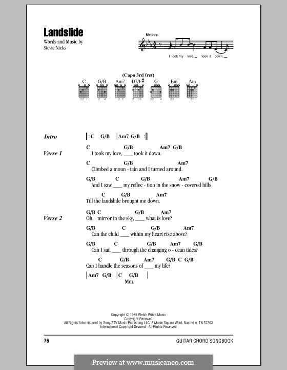 Landslide (Fleetwood Mac) by S. Nicks - sheet music on MusicaNeo
