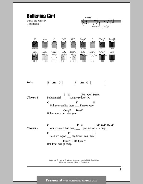 Ballerina Girl: Lyrics and chords by Lionel Richie