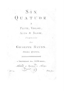 Six Quartets for Flute and Strings: Six Quartets for Flute and Strings by Joseph Haydn
