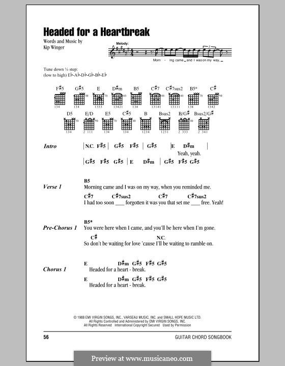 Headed for a Heartbreak (Winger) by K. Winger - sheet music on MusicaNeo