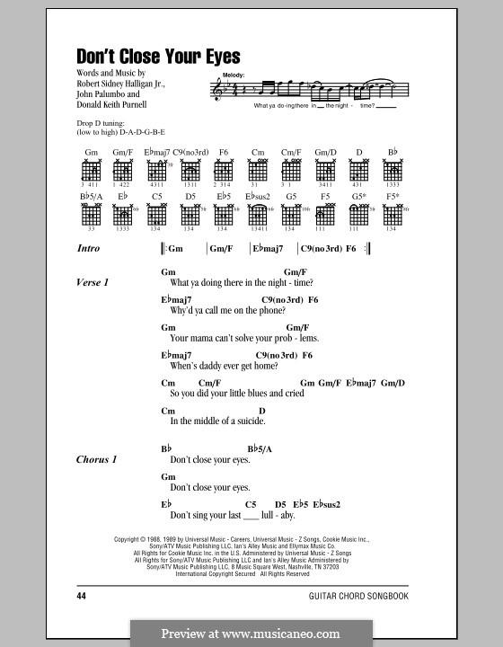Don't Close Your Eyes (Kix): Lyrics and chords by Bob Halligan Jr., Donald Keith Purnell, John Palumbo