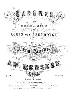 Cadenza to Piano Concerto No.3 by Beethoven: Cadenza to Piano Concerto No.3 by Beethoven by Adolf von Henselt