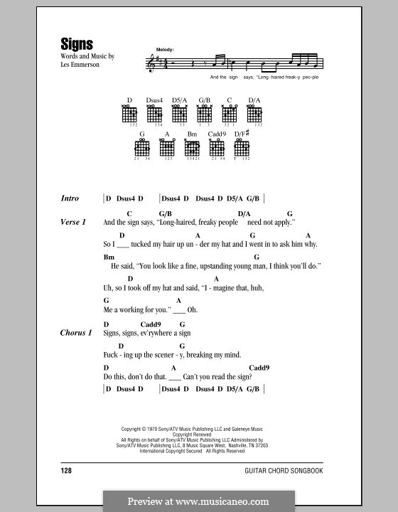Signs (Five Man Electrical Band): Lyrics and chords by Les Emmerson