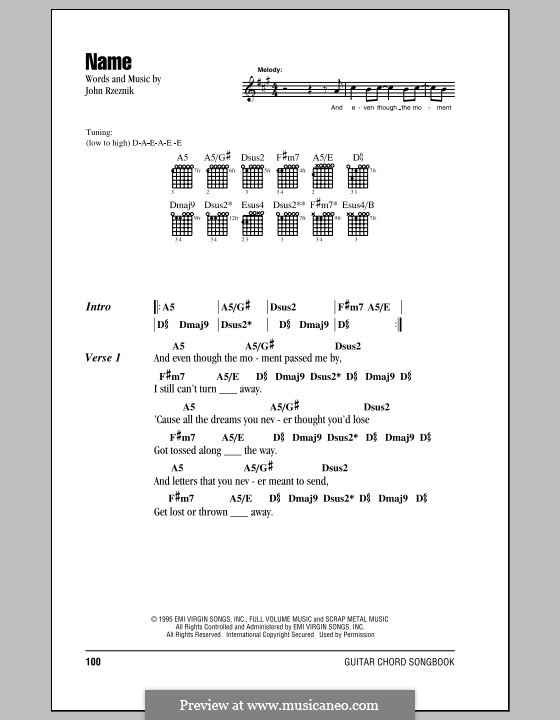 Name (Goo Goo Dolls) by J. Rzeznik - sheet music on MusicaNeo
