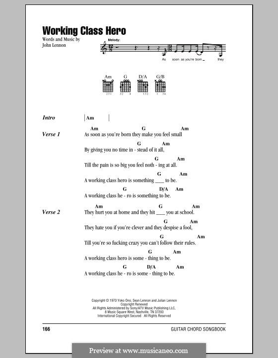 Working Class Hero: Lyrics and chords by John Lennon