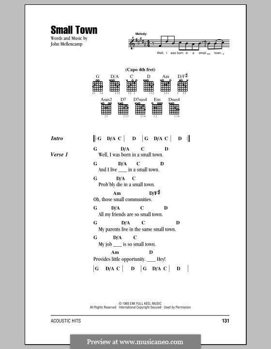Small Town: Lyrics and chords by John Mellencamp