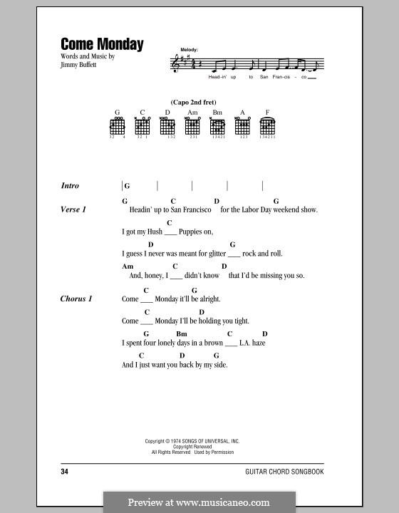 Come Monday: Lyrics and chords by Jimmy Buffett