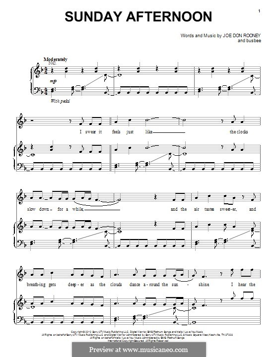 Sunday Afternoon (Rascal Flatts): For voice and piano (or guitar) by Busbee, Joe Don Rooney