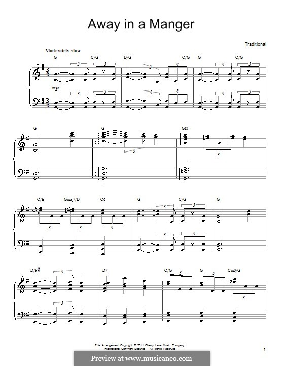 Away in a Manger: For piano (G Major) by folklore