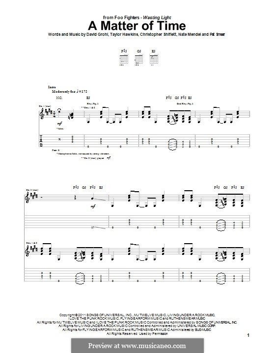 A Matter of Time (Foo Fighters): For guitar with tab by Christopher Shiflett, David Grohl, Nate Mendel, Pat Smear, Taylor Hawkins