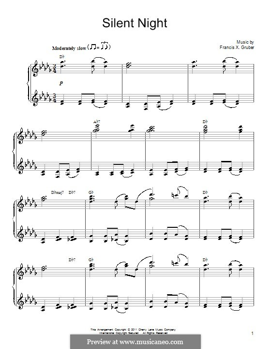 Silent Night, for Piano: In D Flat Major by Franz Xaver Gruber
